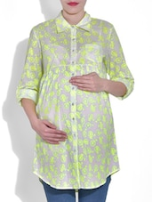 Yellow Cycle Printed Cotton Maternity Tunic - By