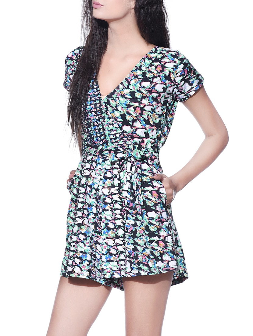 001880cb16c7 Buy Overlapped Neck Printed Romper Jumpsuit by Aayu - Online shopping for  Jumpsuits in India