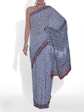 White And Black Cotton Printed Saree - By
