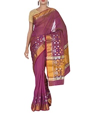 Purple Art Silk Jacquard Zari Banarasi Saree - By