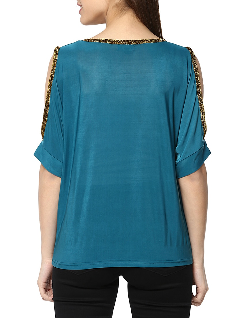 4c96cbcb16ee7 Buy Teal Embellished Cold Shoulder Top by Mayra - Online shopping for Tops  in India