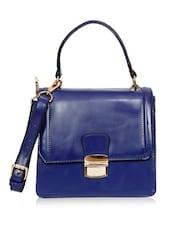Dark Blue Leatherette Structured Handbag - By
