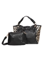 Eyelet Detail Black Leatherette Tote With Pouch - By