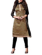 Black Embroidered Chanderi Silk Suit Set - By