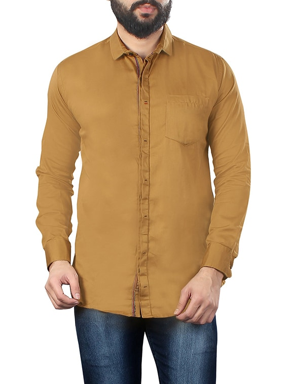 f519df95b27c0e Buy Solid Mustard Cotton Casual Shirt by Jugend - Online shopping for Casual  Shirts in India
