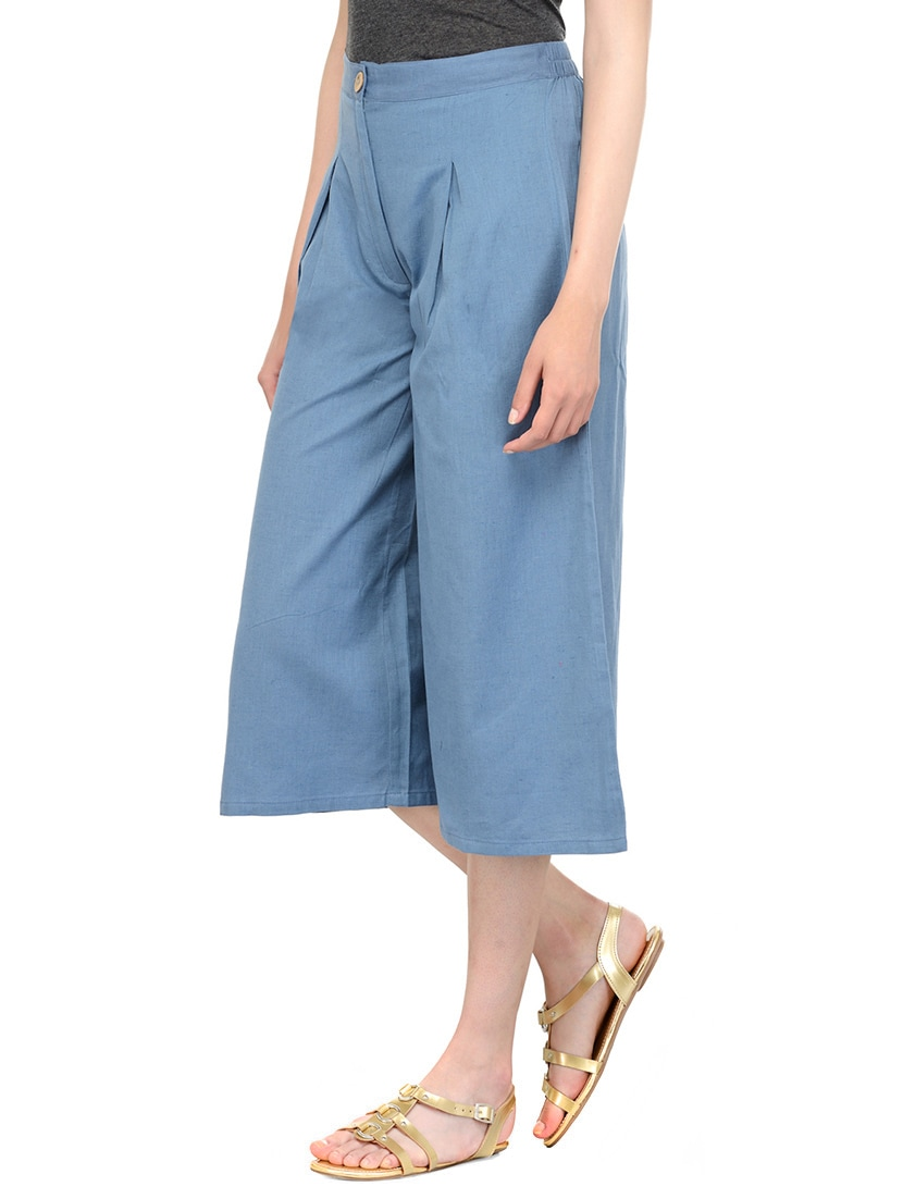 b3ee101dd042b Buy Blue Cotton Culottes by Bitterlime - Online shopping for Capris in India