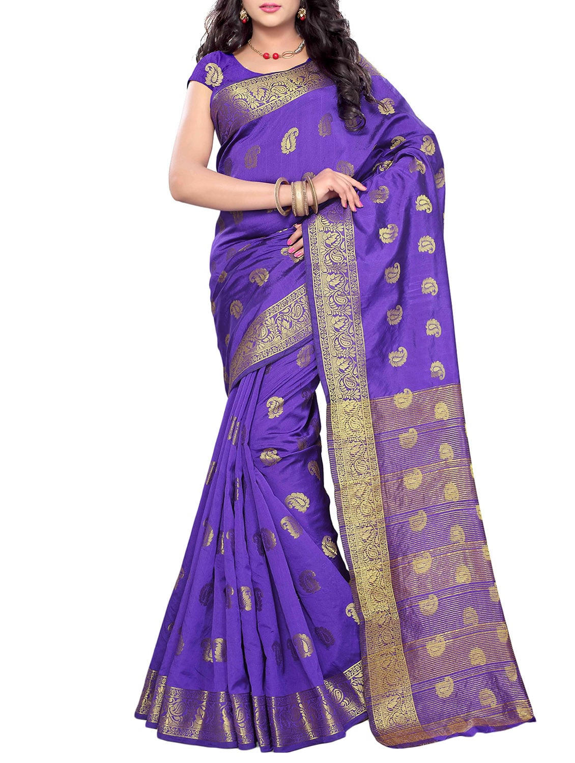 d43a976e0193b1 Buy Purple Cotton Woven Saree by Satyam Weaves - Online shopping for Sarees  in India