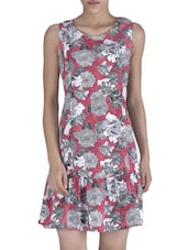 Pink Poly Crepe Floral Printed Drop Waist Dress - By