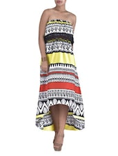Multicolored Poly Crepe Aztec Printed Tube Dress - By