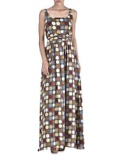 Multicolored Poly Georgette Polka Dot Maxi Dress - By
