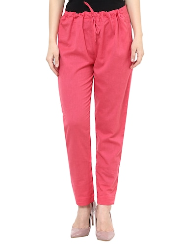 e2c0f3a7ab51f Buy Magenta Cotton Flat Front Trousers by Abony - Online shopping ...