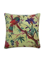 Yellow Cotton Printed And Kantha Worked Cushion Cover - By
