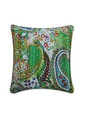 Green Cotton Printed And Kantha Worked Cushion Cover - By