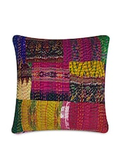 Multi Silk Printed And Kantha Worked Cushion Cover - By