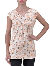 Cream Floral Printed Polycrepe Top - By