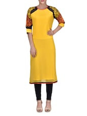 Yellow Georgette Printed Round Necked Kurta - By