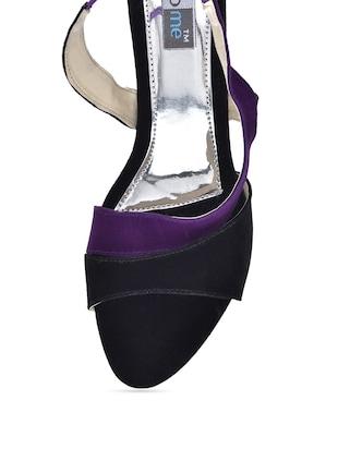 4676d22741f Buy Purple And Black Velvet Kitten Heel Sandals for Women from Fabme for  ₹499 at 0% off