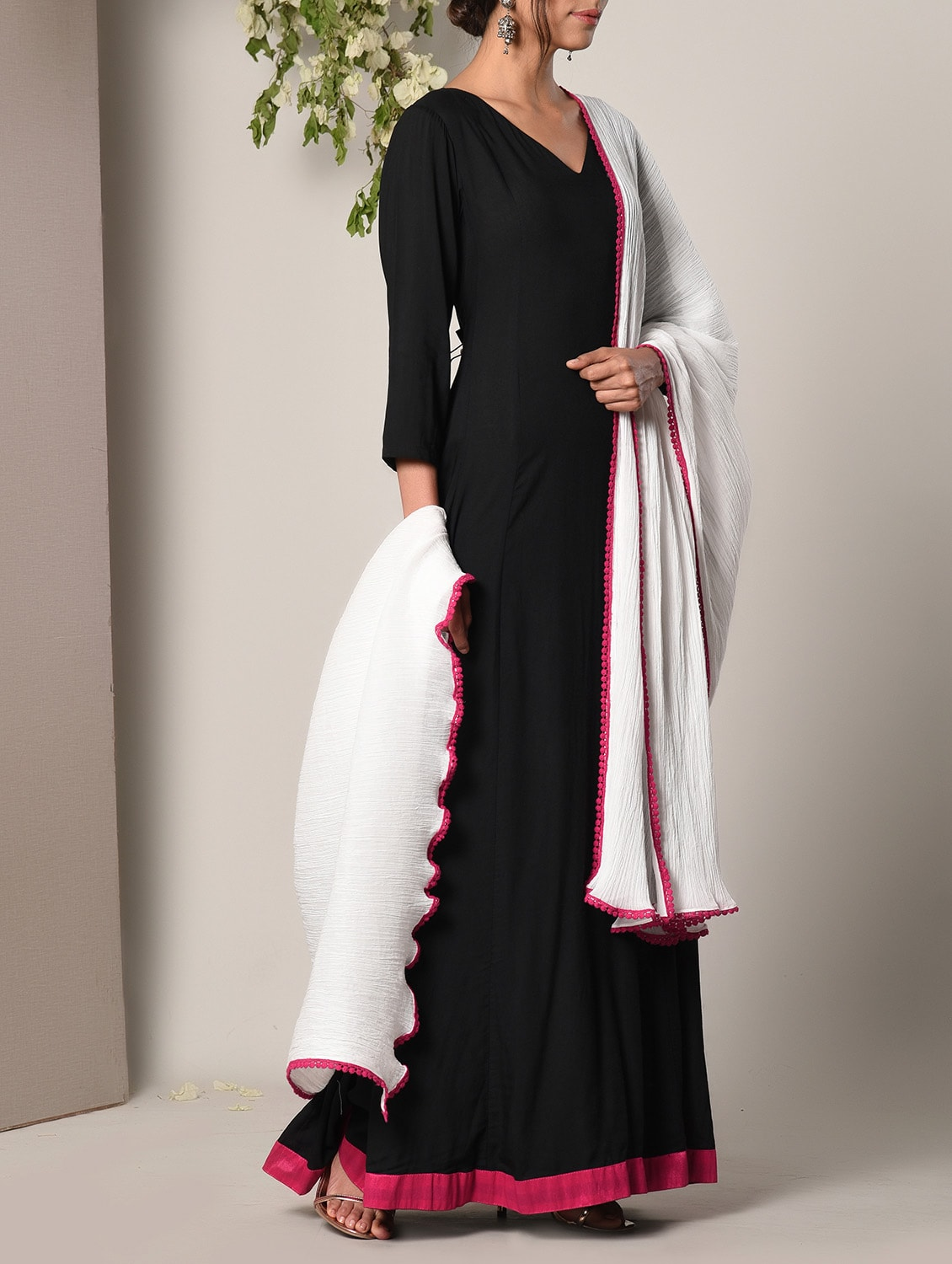 af64ac2fd6 Buy Black Cotton Modal Maxi Dress And Dupatta Set for Women from Truebrowns  for ₹3419 at 10% off