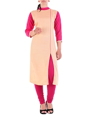 beige rayon straight kurta -  online shopping for kurtas