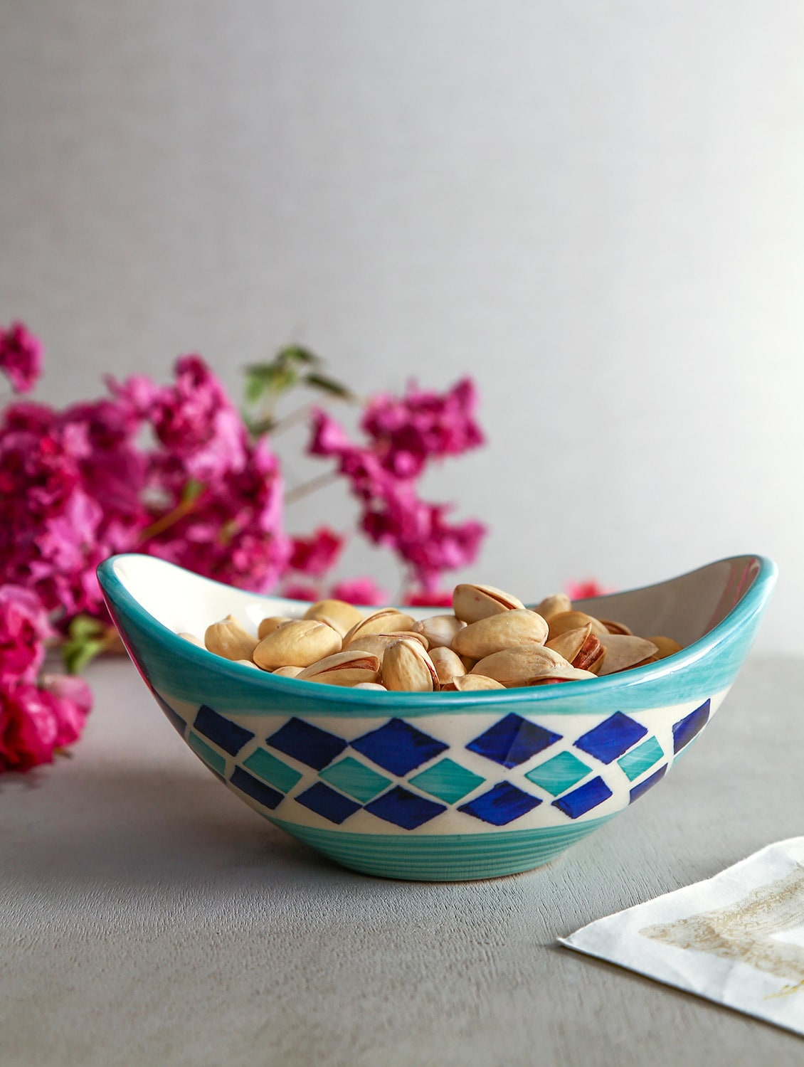 handpainted set of 2 ceramic snack bowls