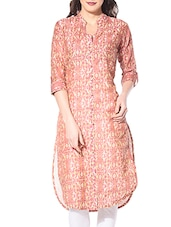 Multi Colored Chanderi Cotton Printed High-low Kurta - By