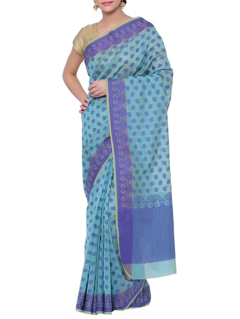 fe3f05a19c Buy Sky Blue Cotton Silk Woven Saree With Blouse for Women from Avishi for  ₹2499 at 0% off | 2019 Limeroad.com