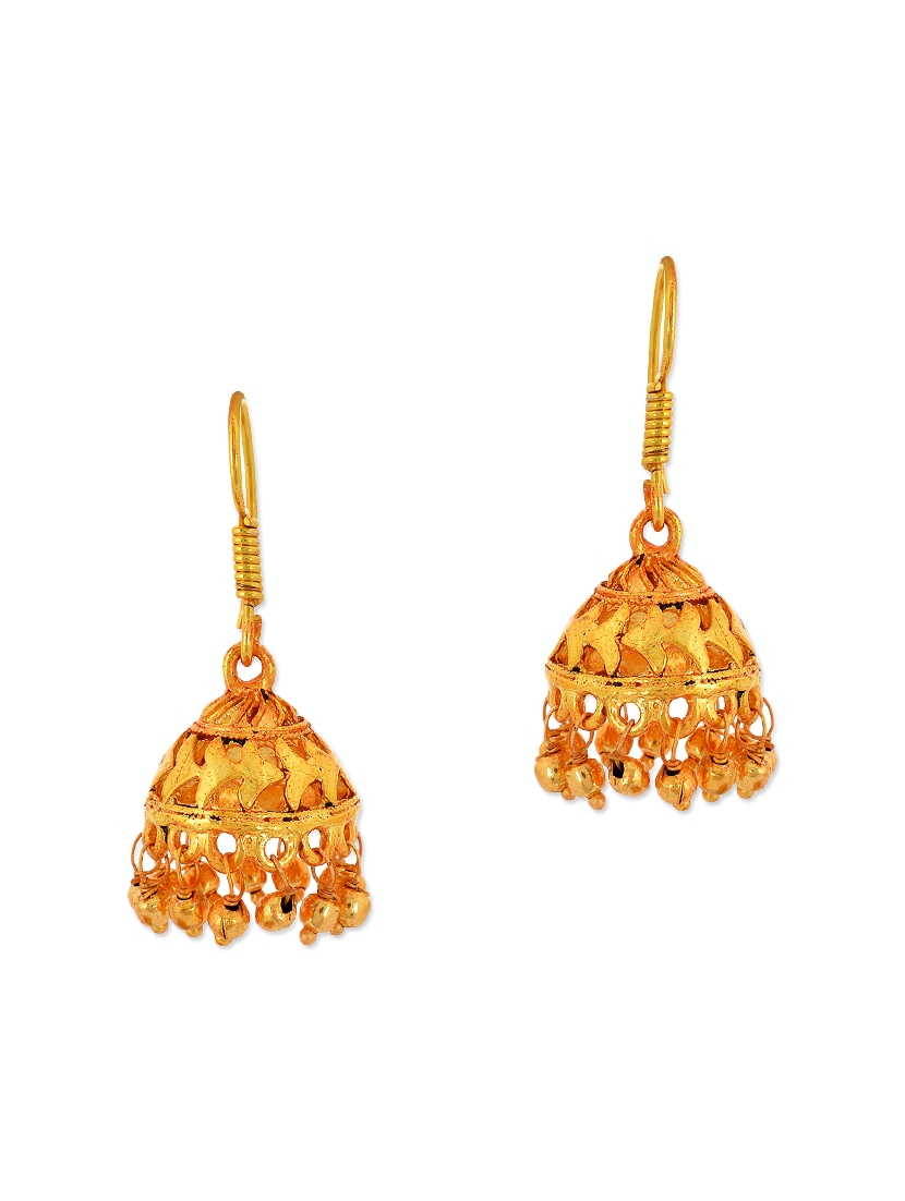 Buy Online Gold Metal Gold Jhumka Earrings From Fashion Jewellery