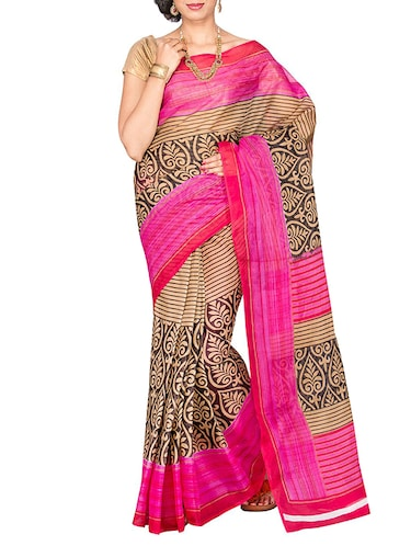 pink cotton blend printed saree with blouse - 13408702 - Standard Image - 1