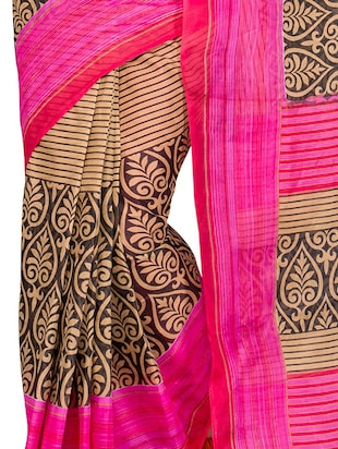 pink cotton blend printed saree with blouse - 13408702 - Standard Image - 4
