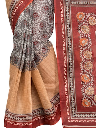 orange cotton blend printed saree with blouse - 13408711 - Standard Image - 4