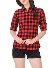 red cotton regular shirt -  online shopping for Shirts