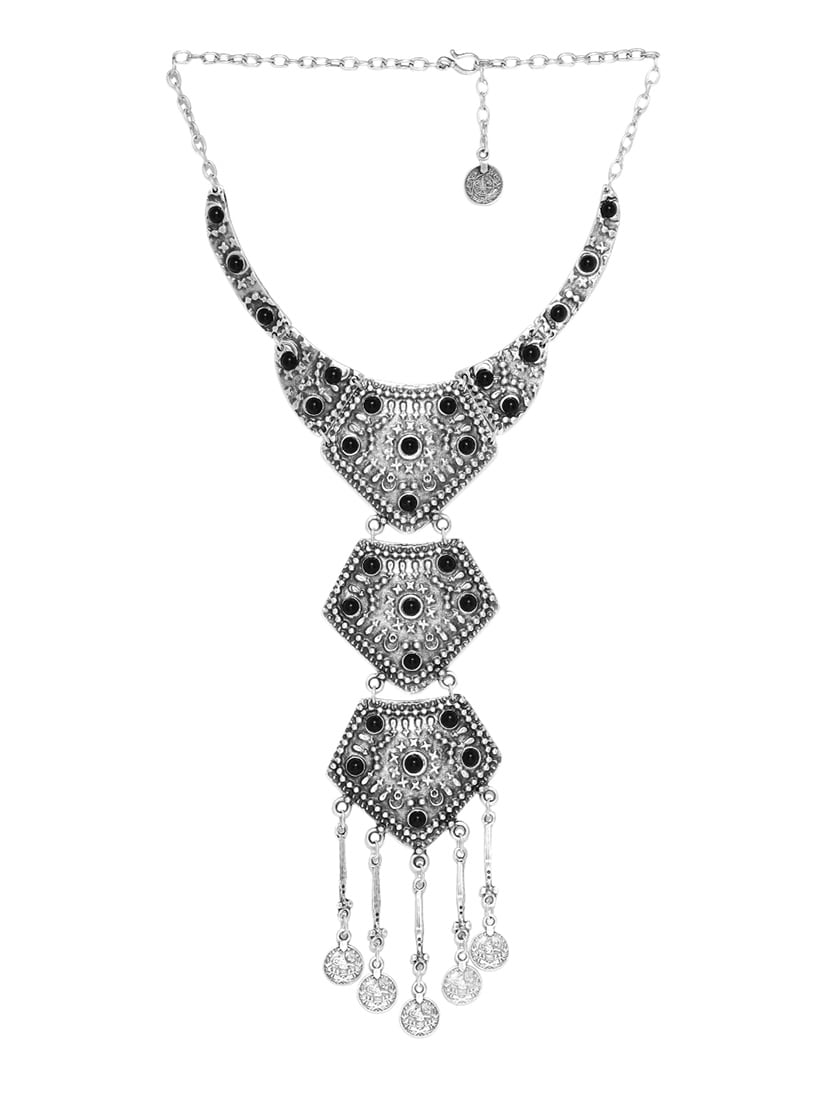 46aefa2fca4 Oxidised Silver Plated Tribal Long Necklace