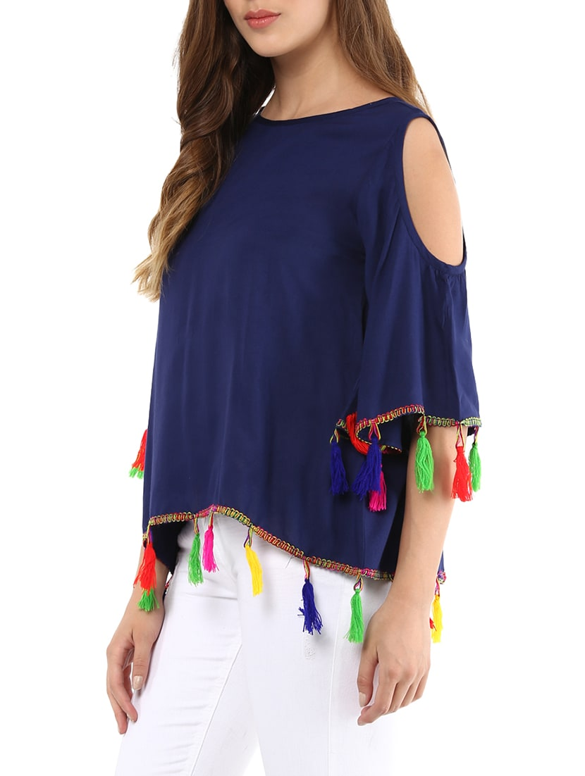 f0587c6175319f Buy Tassel Detail Cold Shoulder Top for Women from Color Cocktail for ₹484  at 46% off