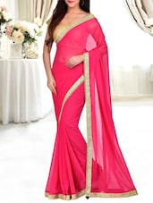 pink georgette plain bordered saree -  online shopping for Sarees
