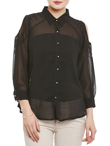 65fbdfe71443d Buy Black Solid Cold Shoulder Shirt for Women from Indietoga for ...