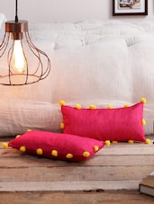 RangDesi Raw Silk Cushion Covers With Pom Pom Lace-Set Of 2 With Fillers - By