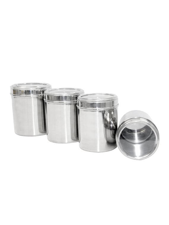 Buy Set Of 4 Stainless Steel Kitchen Storage Canisters With See