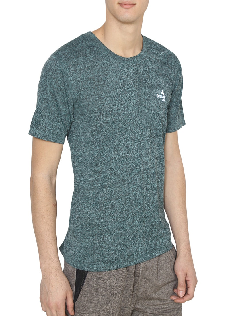 c68f27750d7 Buy Jungle Green Melange Polyester T-shirt for Men from Good Luck U.s.a for  ₹1499 at 0% off