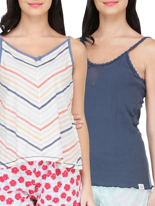 4219d696f0a879 set of 2 multi colored cotton camisoles - online shopping for Camisoles