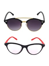 Aventus Sunglasses Combo- Red Clear Cateyes Sunglasses & Round Clubmaster Sunglasses - By
