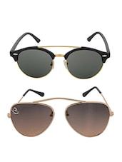 Aventus Sunglasses Combo-  Bridgeless Green Aviator Sunglasses & Round Clubmaster Sunglasses - By