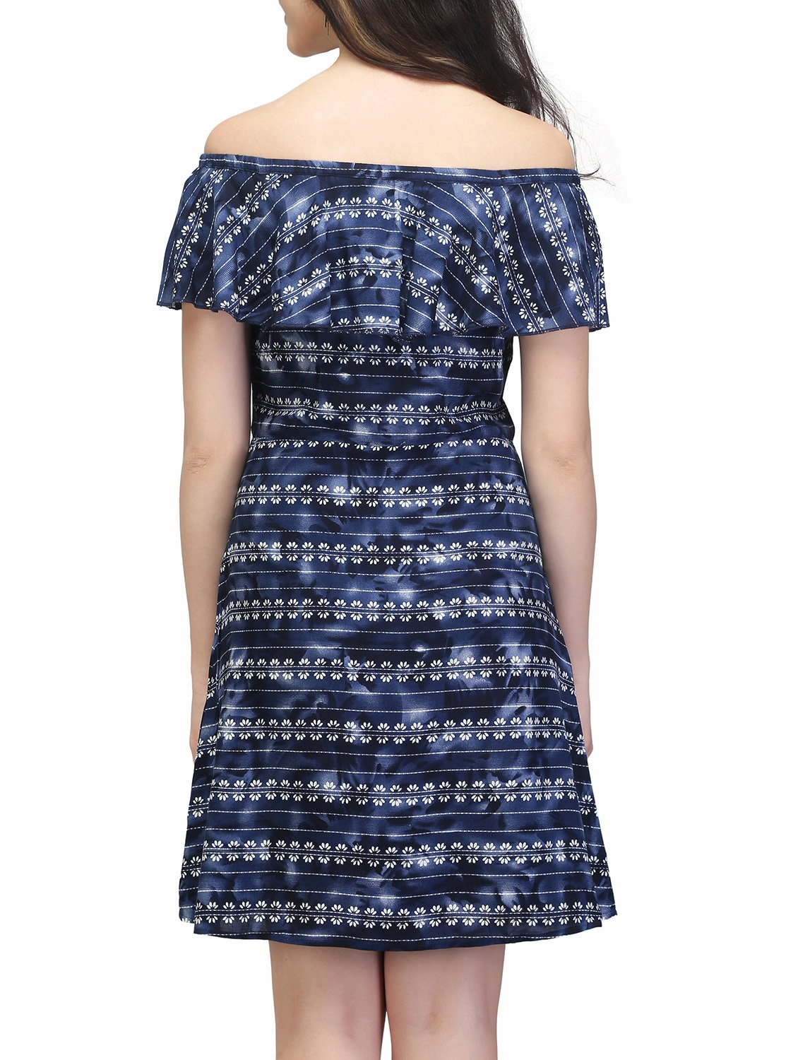 9defa6a8fab7 Buy Blue Rayon Off Shoulder Dress by Eavan - Online shopping for Dresses in  India