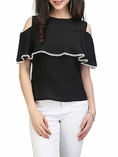 solid black ruffle top -  online shopping for Tops