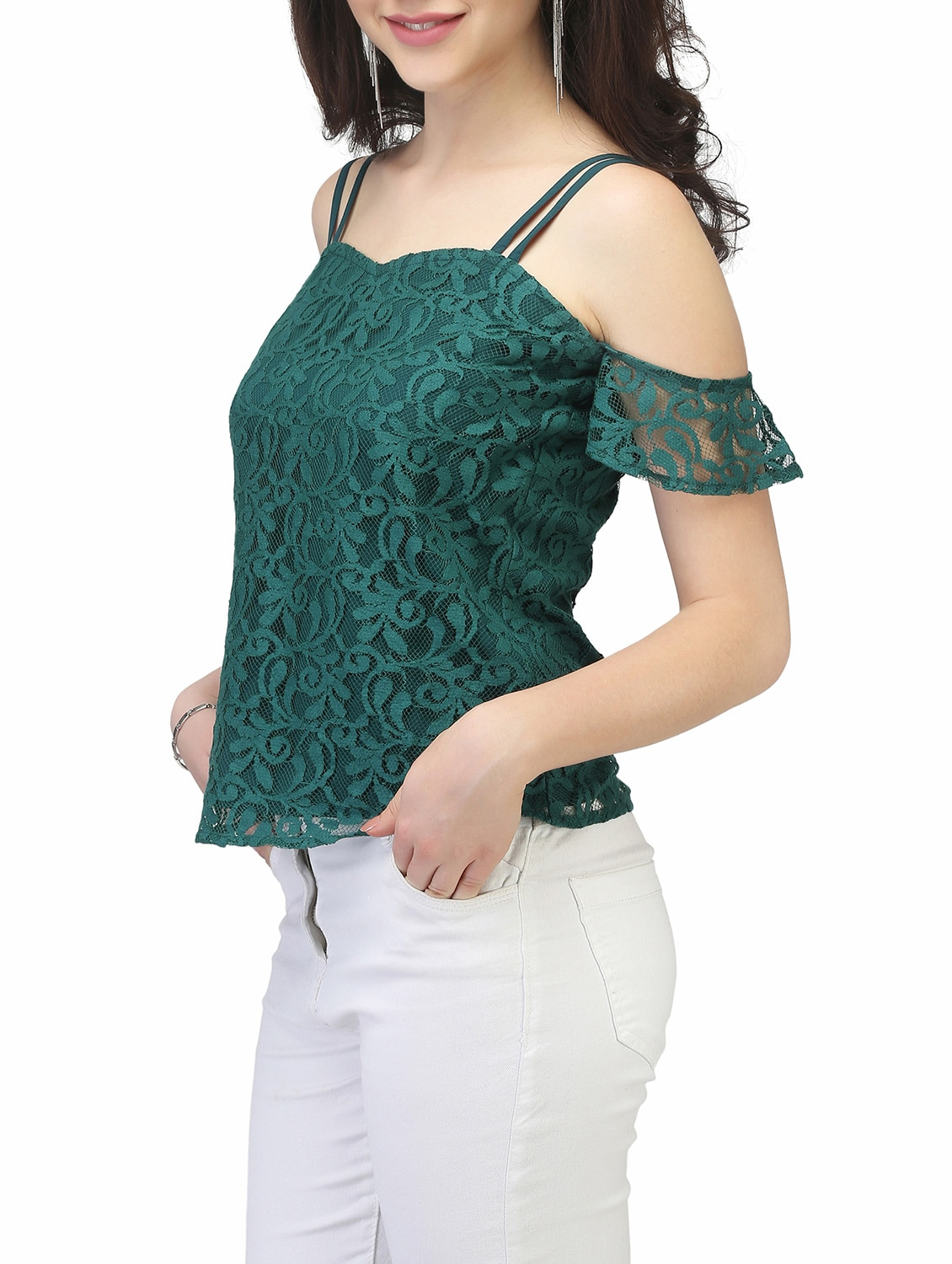 22e6ae045f8ec8 Buy Green Lace Cold Shoulder Top for Women from Eavan for ₹799 at 0% off