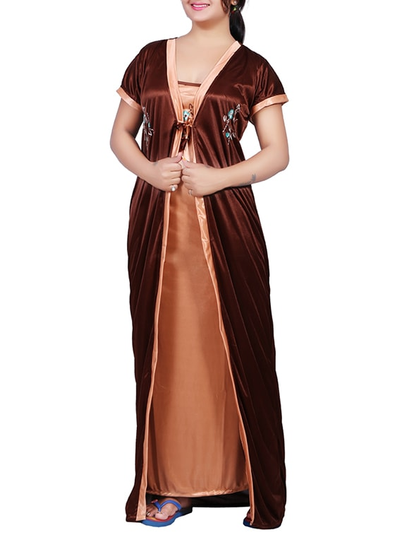 46b71460224 Buy Brown Satin Nighty With Coverup for Women from Mahaarani for ₹605 at  39% off