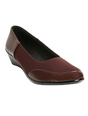 brown fabric & synthetic slip on formal shoes -  online shopping for formal shoes