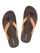 brown leatherette slip on slippers -  online shopping for Slippers
