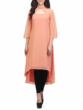 Peach Poly Georgette Highlow Kurta - By