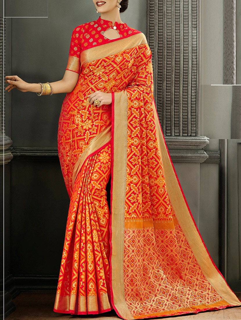 700f6930f1fb53 Buy Orange Silk Patola Saree With Blouse for Women from Shangrila Designer  for ₹3320 at 7% off