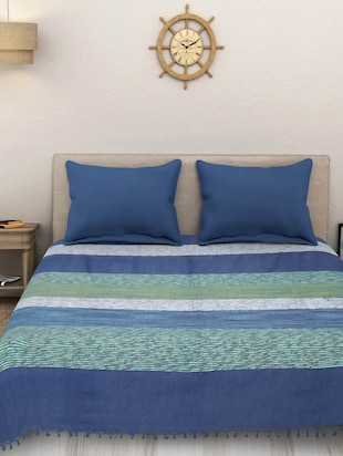 Yarn Dyed Cotton King Size Handloom Blue Bed Spread ( Without Pillow Cover ) -  online shopping for bed covers
